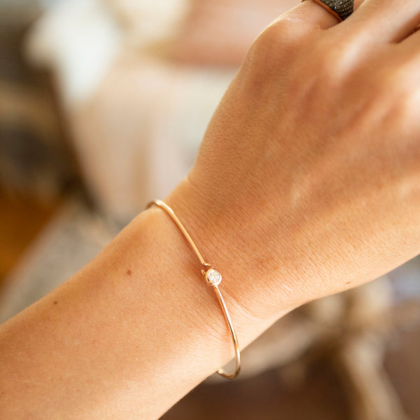 Rose Gold Solitaire Diamond Bangle