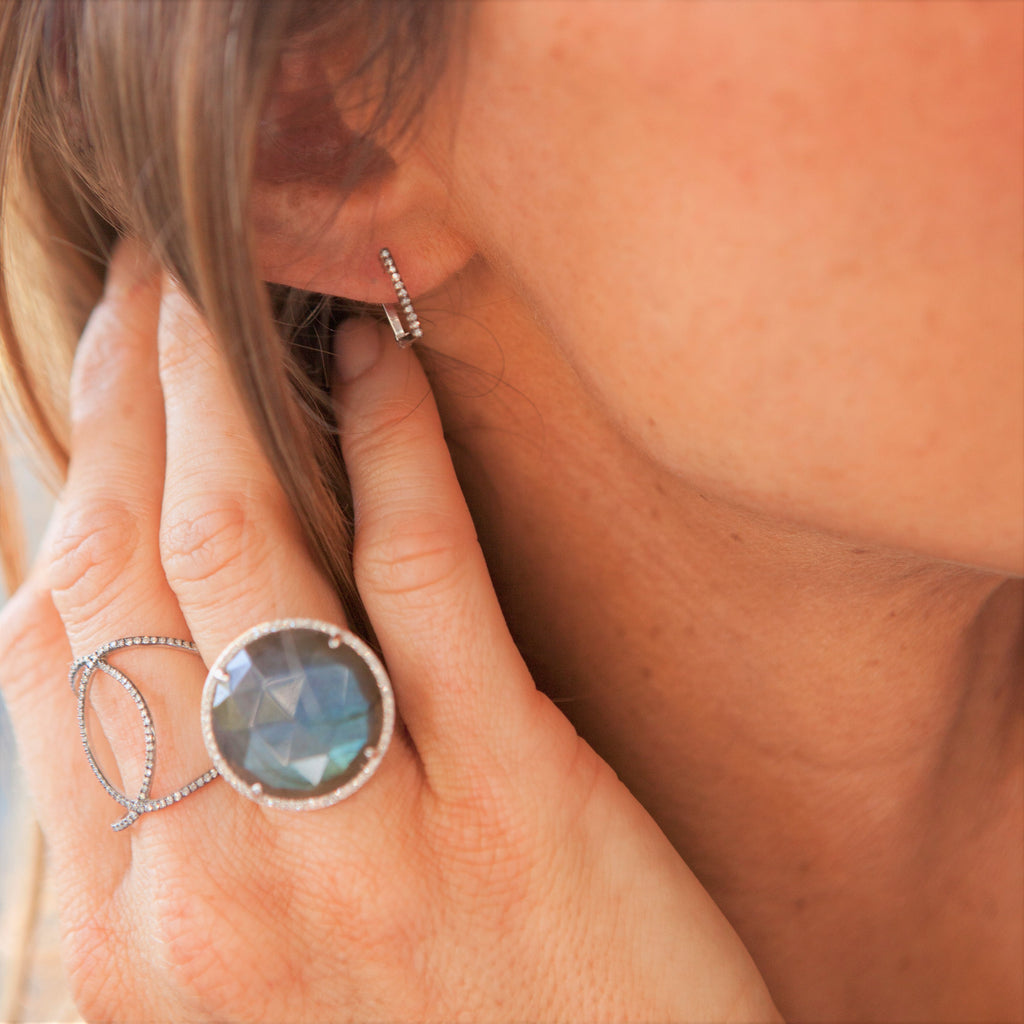 Rosecut Labradorite and Diamond Halo Statement Ring