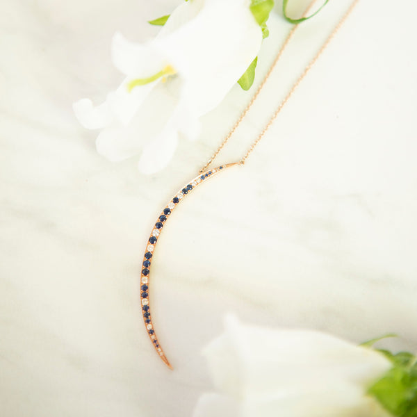 Blue Sapphire and Diamond Crescent Necklace in Rose Gold