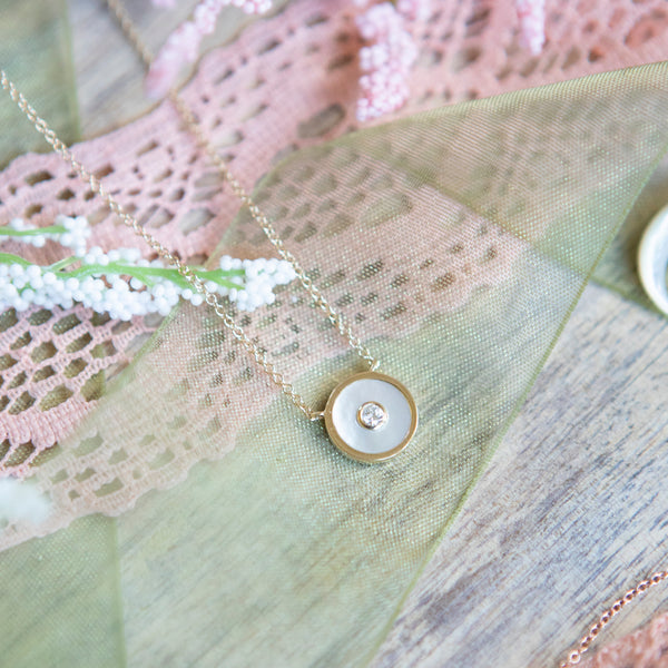 Mother of Pearl and Diamond Disc Necklace
