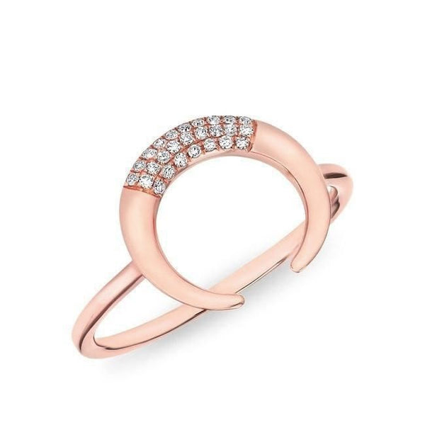 Rose Gold and Diamond Horn Ring