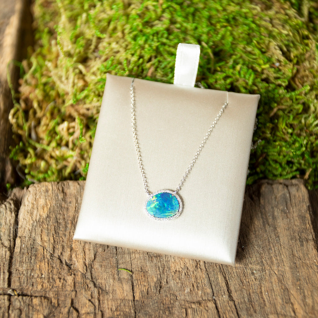 Organic Opal and Diamond Halo Necklace in White Gold