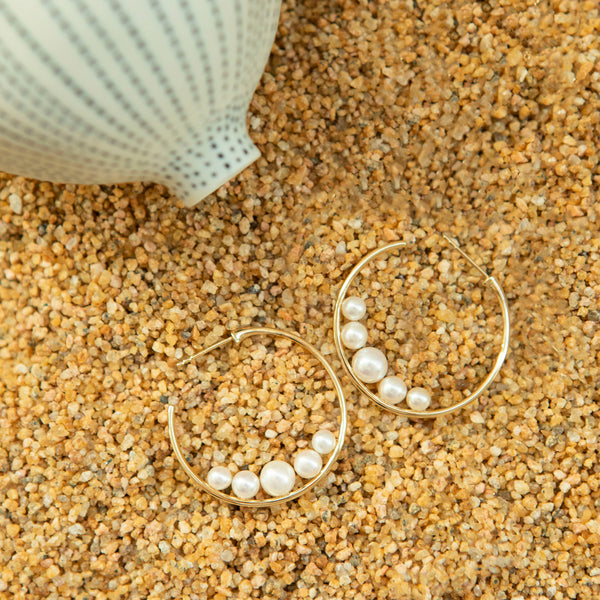 Elevated Pearl and 14k Yellow Gold Hoop Earrings