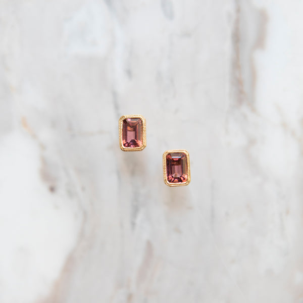 Bespoke Emerald Cut Pink Tourmaline Earrings