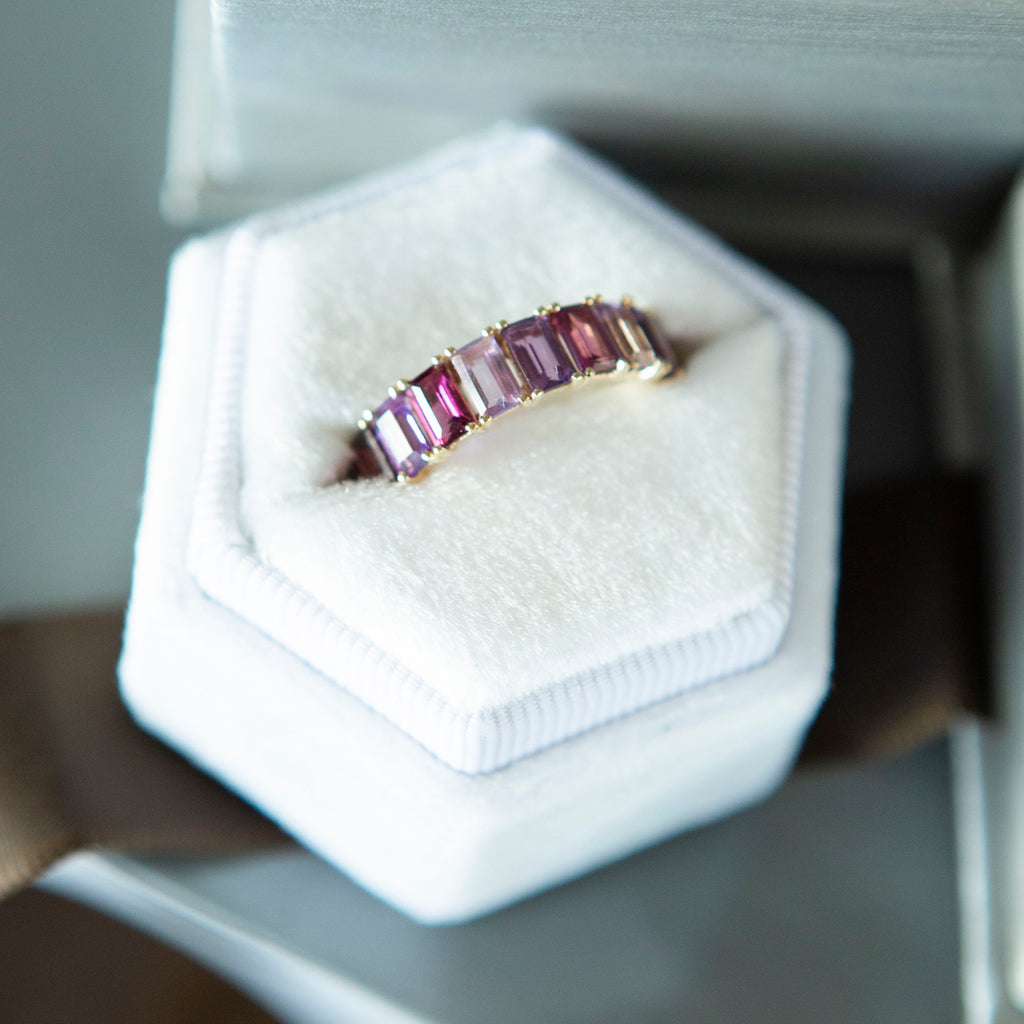 Shades of Violet Emerald Cut Eternity Band