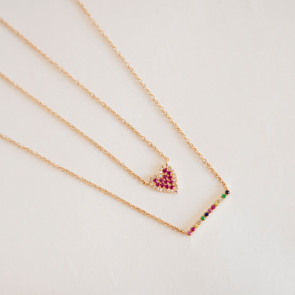 Gemstone Rainbow Bar Necklace