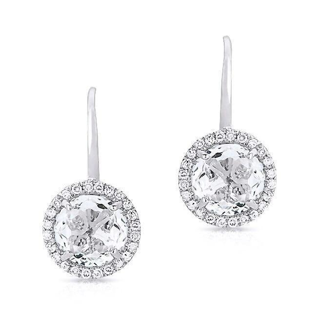 Rose Cut White Topaz and Diamond Halo Earrings