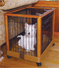 Puppy inside wood dog crate