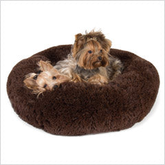 Yorkies in Susan lanci Powder Puff dog bed