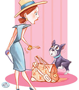 Cartoon Yorkie peeing on woman's purse