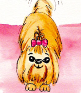 Cartoon Yorkie wagging tail