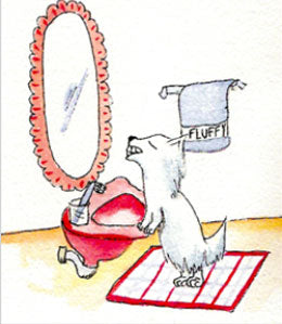 Cartoon dog looking at teeth in mirror