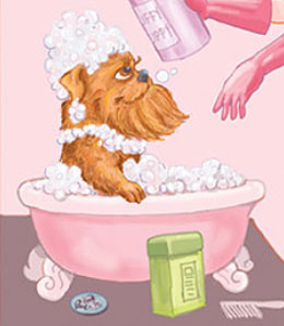 Cartoon dog in bath tub
