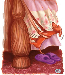 Cartoon - Dachshund climbing bed post