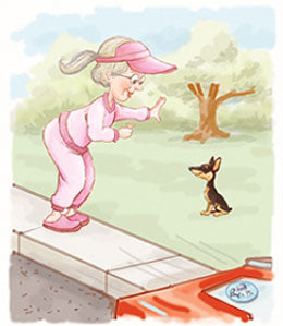 Cartoon - woman training small dog