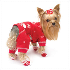 Yorkie wearing red dog pajamas