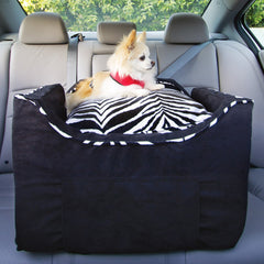 Chihuahua riding in dog car seat