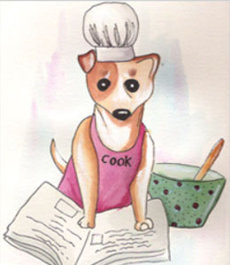 Dog chef cooking treats