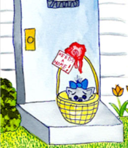 Cartoon - puppy in basket on porch