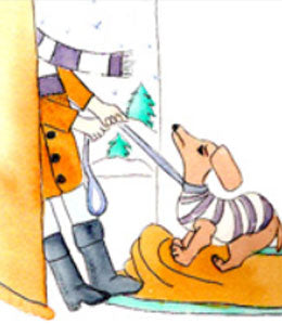 Cartoon - dog dragged outside in winter