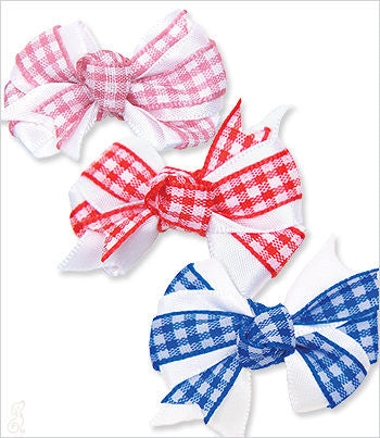 Gingham and Satin Knot Bow Barrette