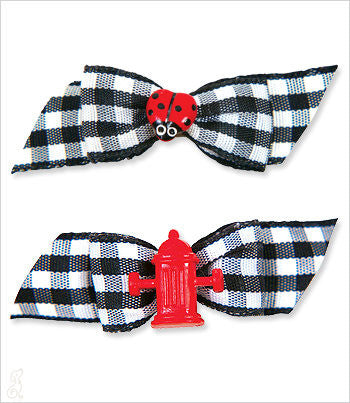 Black Gingham Button Barrette