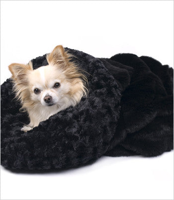 Susan Lanci Black Cuddle Cup Dog Bed