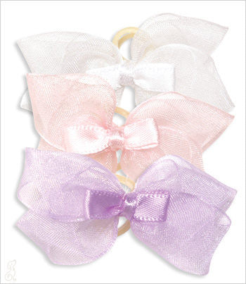 Sheer Satin Double Elastic Bows