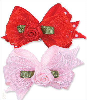 Dog barrettes in red and pink with roses