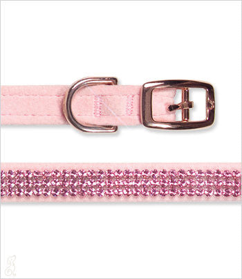 Pink dog leash showing pink crystals