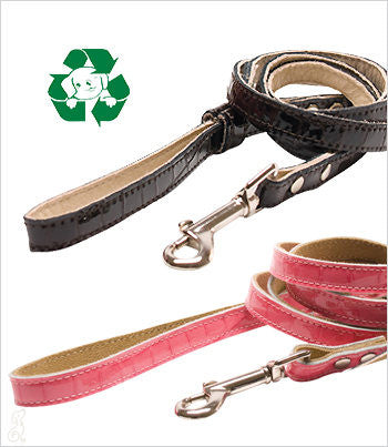 pink and brown faux croc leather leashes