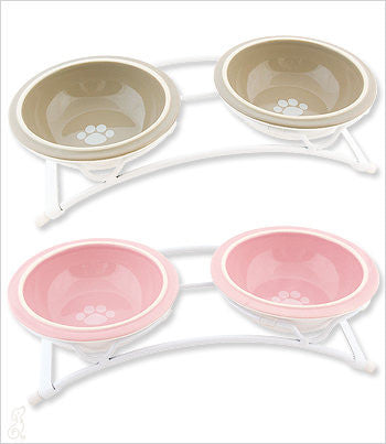 Pink and Taupe Dog Bowls