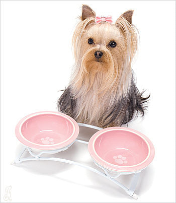 Pink Stoneware Dog Bowls with Yorkie
