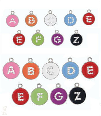 Alphabet Dog Tag - Opaque Pastel w/Crystal