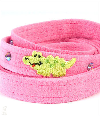 Pink Ultrasuede Dog Leash with Alligator
