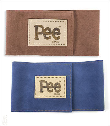 PEE Brand male wrap belly bands in tan and blue