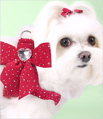 Susan Lanci Stardust Tail bow heart harness - perfect pink