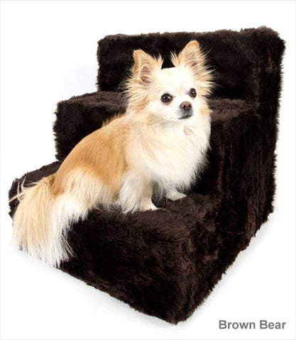 Pet Flys Dog Stairs Brown Faux Fur