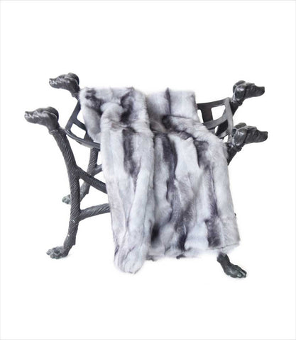 Faux Fur Dog Blanket in Silver Wolf