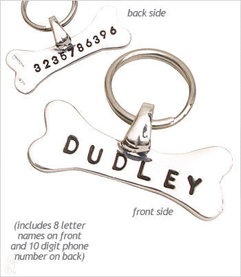 Sterling Silver bone-shaped dog ID tag