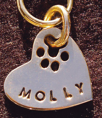 14K Gold Dog Tag in a Heart Shape