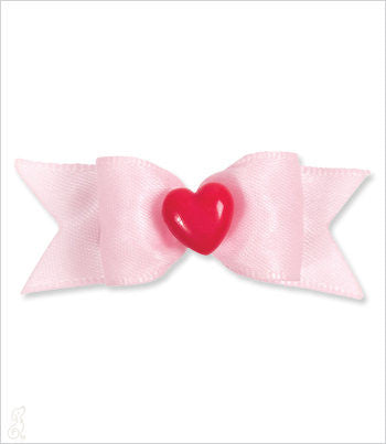 Baby pink dog bow with red heart