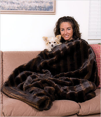 Chihuahua cuddling in a Sable Mink Throw Dog Blanket