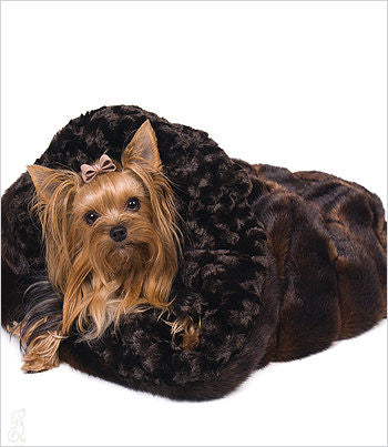 Yorkie in Sable Mink Snuggle Dog Bed