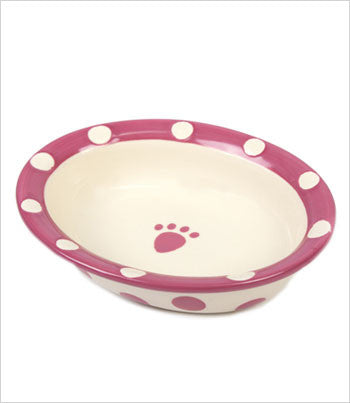 Pink Polka Dot and Paw Bowl