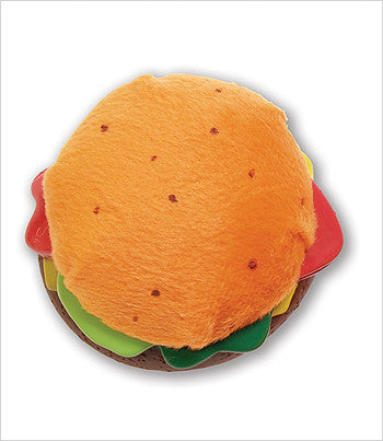 hamburger and hotdog dog toy