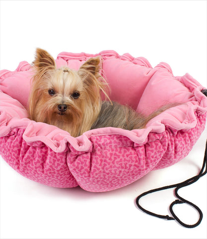 Buttercup dog bed - Yorkie Pink Bones