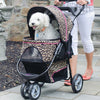 Close up dog in Cheetah stroller