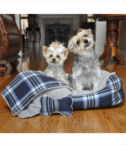 Blue Plaid Dog Bed with free toy and blanket