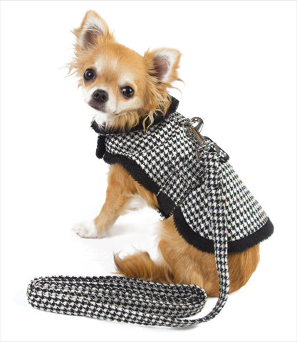 Doggie Design Houndstooth Dog Harness Jacket + Leash